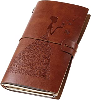 Leather Journal, Vintage Refillable Travelers Notebook with Line Paper+ 1 PVC Zipper Pocket +18 Card Holder for Women 4.7 X 7.9in (Brown)