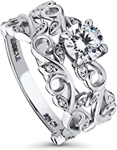 BERRICLE Rhodium Plated Sterling Silver Round Cubic Zirconia CZ Filigree Leaf Solitaire Engagement Wedding Ring Set 0.95 CTW