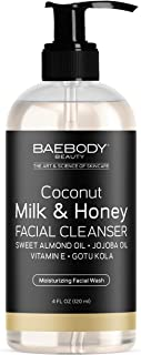 Baebody Coconut Milk and Honey Natural Facial Cleanser-Moisturizing, Nourishing and Revitalizing Daily Facial Cleanser; With Organic Aloe. Vera, Coconut Milk and Honey Gel- 4 fl oz.
