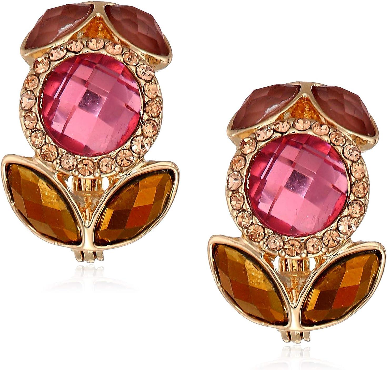 Women's Gold Tone Burgundy Stone Button Clip On Earrings