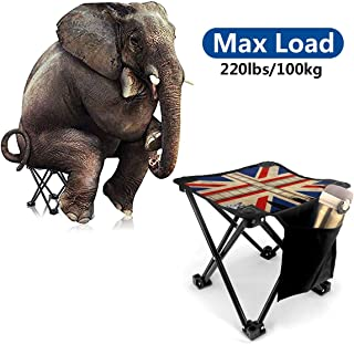 PAGSRAH Small Folding Stool Portable Union Jack Wheel City Slacker Chair with Carry Bag for Fishing BBQ Hiking