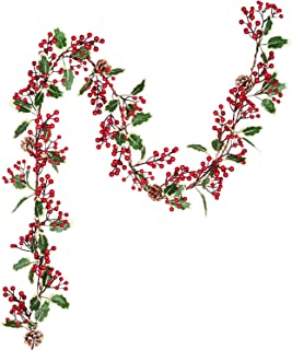 Lvydec Red Berry Garland Christmas Decoration - 7ft Artificial Red Berry Garland with Pine Cone and Green Leaves for Holiday Fireplace Stairs Table Decorations