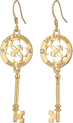 GUESS - Tortoise Hoop with Screw Accents Earrings