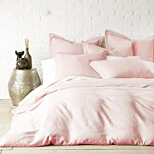Lausonhouse Linen Quilt Cover Set,100% Pure French Linen Doona Cover Set,Luxurious Bedding Set 3 Pieces- Light Pink -Queen...