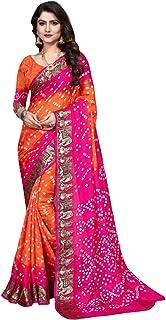 Indian Traditional Pink Bandhej Art Silk Zari weaving Festival Bandhani Printed Saree Blouse Sari 6316