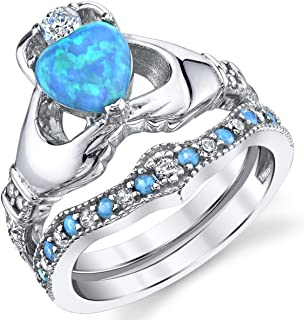 Sterling Silver 925 Heart Shape Claddagh Engagement Ring Wedding Bridal Sets with Blue Simulated Opal