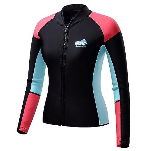 ffc9da92ff Lemorecn Women s 1.5mm Wetsuits Jacket Long Sleeve Neoprene Wetsuits Top