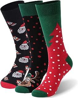 DD DEMOISELLE Holiday Socks,Women's Fun Cartoon Novelty Gift Socks,3 Pairs Santa&Elk&Tree