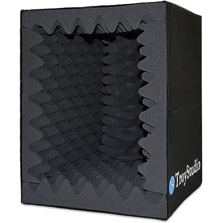TroyStudio - Caja de cabina vocal portátil para grabación de sonido, filtro de reflexión y aislamiento de micrófono, grande, plegable, montaje en soporte, espuma absorbente de sonido superdensa