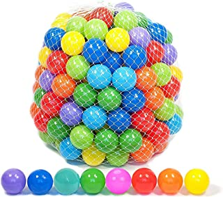 Playz Soft Plastic Play Balls with 8 Vibrant Colors - Crush Proof, No Sharp Edges, Non Toxic, Phthalate & BPA Free - Use i...