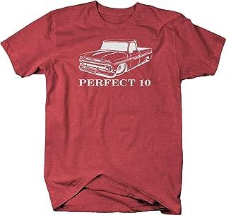 Bold Imprints Perfect 10 Chevy C10 GMC Fleetside Lowered 1960-66 Pickup Truck Tshirt, Heather Red, XX-Large
