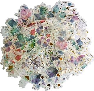 Kawaii Gold Stamping Washi Sticker Set Romantic Stars Planets Art Craft Label for Scrapbooking Planner Journal Letter Card...