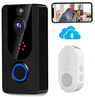 Wireless Doorbell Camera 1080P with Chime, Video Doorbell Camera with PIR Motion Detection, Wi-Fi Smart Door Bell with Lif...