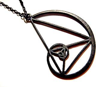 Matte Black Fibonacci Spiral Pendant Necklace Sacred Geometry Natural Math Golden Ratio