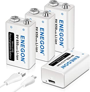 ENEGON 9V Direct USB Rechargeable Lithium-ion 650mAh Batteries with 2 in 1 Micro USB Cable for Micro Phone, Smoke Alarms, ...