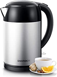 SHARDOR Electric Tea Kettle 1.7L Stainless Steel, Water Boiler & Heater with Auto-Shutoff and Boil-Dry Protection