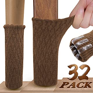 Chair Leg Socks, Ravmix 32 Pack Knitted Elastic Furniture Socks Chair Feet Covers Floor Protectors with Non-Skid Rubber Strips for Square Round Odd Feet with Circumference from 2.7'' to 7'', Brown