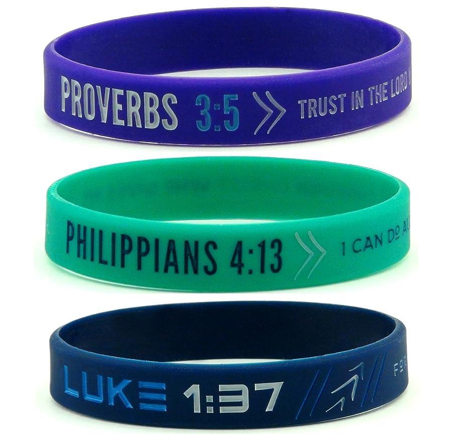 Inkstone Faith Wristbands, Ladies' Size (6-pack) - Philippians 4:13, Luke 1:37, Proverbs 3:5 Silicone Bracelets for Women