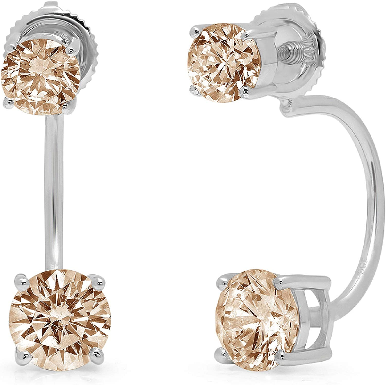 3.14cttw Dual Double Drop 2 stone Round Cut Solitaire Genuine Brown Champagne CZ Unisex Designer Lever back Drop Dangle Earrings 14k White Gold