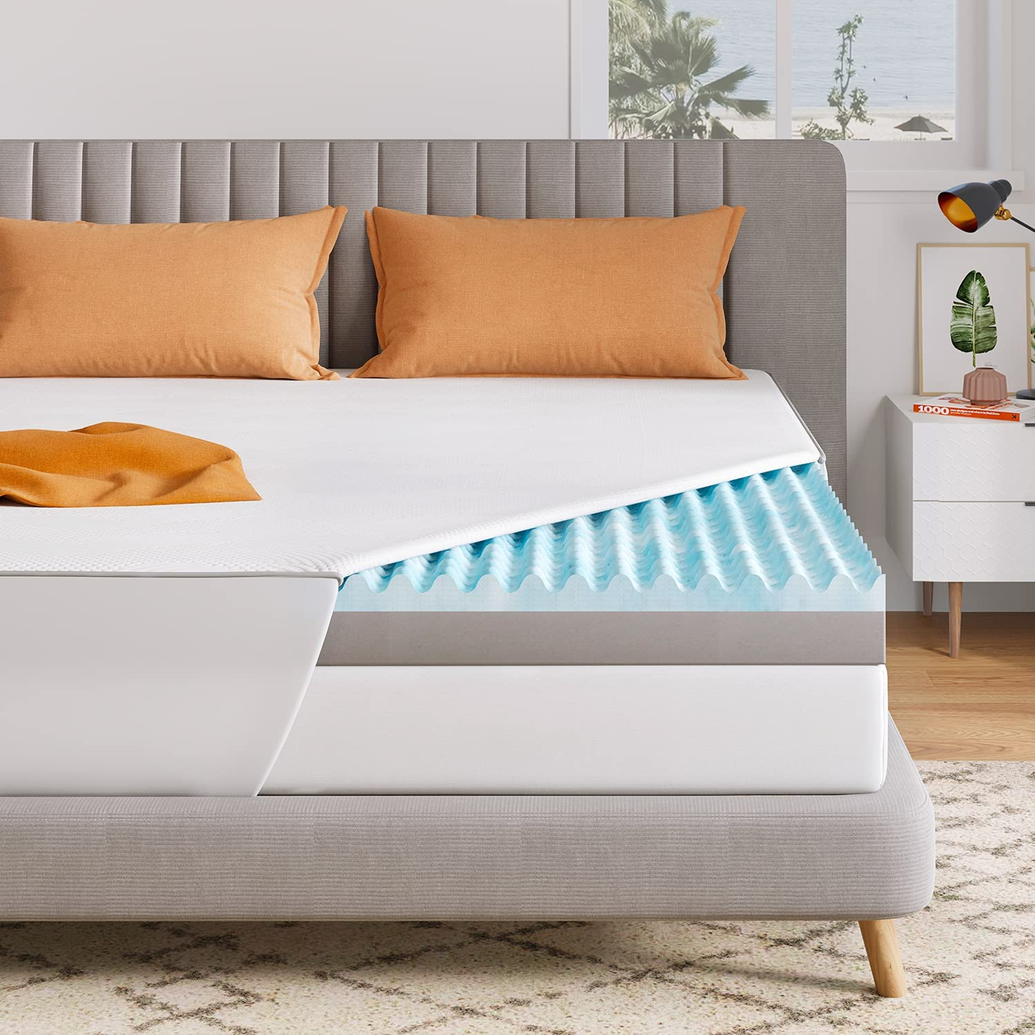 Lowest price challenge Sweetnight Mattress Topper Queen Complete Free Shipping 3 Infused Dual Inch Gel Layer