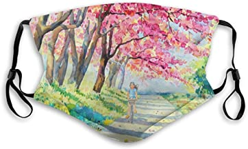 Sanghing Watercolor Pink Wild Himalayan Cherry Blossoms Female Riding On The Curb 5-Layer Activated Carbon with Replaceabl...