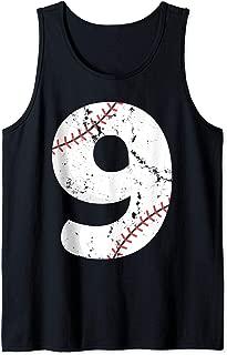 Number #9 BASEBALL Vintage Distressed Team Art Tank Top