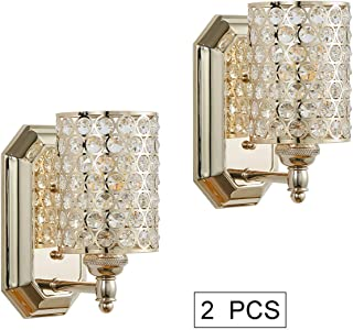 Doraimi 1 Light Crystal Wall Sconce Lighting with Plating Champagne Finish(Set of 2),Modern Concise Wall Light Fixture with Polyhedral Opal Crystal Shade for Bath Room Bed Room,LED Bulb(not Include)