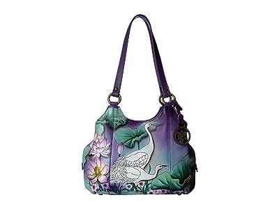 Anuschka Handbags 469 Triple Compartment Medium Satchel (Peaceful Garden) Handbags