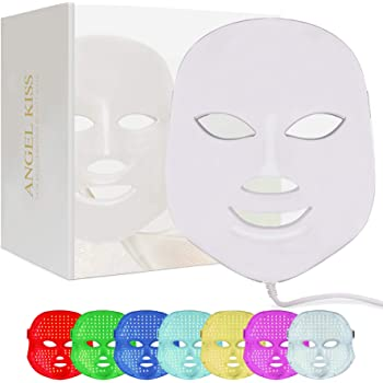 Led Face Mask Light Therapy - Angel Kiss 7 Color Facial Skin Care Photon Mask - Blue & Red Light Treatment Led Mask- Korea PDT Technology for Skin Rejuvenation Anti-Aging Wrinkles and Fine Lines