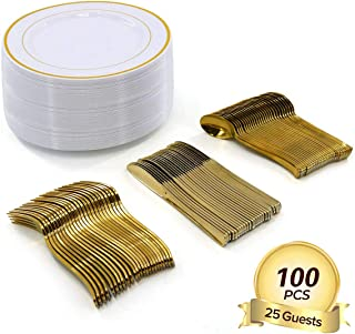 """100 Pieces Disposable Plastic Plates Compostable Premium Bamboo Plates with Gold Rim For Party Wedding birthdays 25 Dinner Plates 10.25""""