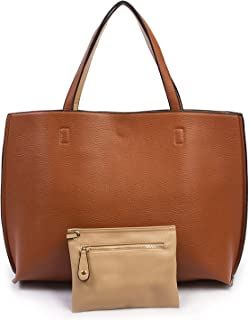 Reversible Tote Bag - Vegan Leather Womens Shoulder Tote with Wristlet, 2016