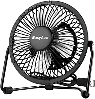 USB Desk Fan,EasyAcc 4 Inch Mini USB Table Fan Electric 4 Blades Portable Personal Fan with 360°Rotation and Adjustable Angle Cooling Floor Fan Fit All USB Device for Office Home Desktop Table - Black