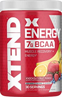 Scivation XTEND Energy BCAA Powder Knockout Fruit Punch | 125mg Caffeine + Sugar Free Pre Workout Muscle Recovery Drink with Amino Acids | 7g BCAAs for Men & Women | 30 Servings | Packaging May Vary