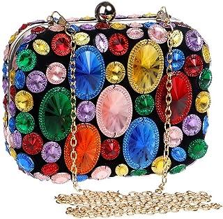 Fine Bag/Ladies Banquet Bag Shiny Rhinestone Shoulder Bag Dress Clutch Bag Bride Wedding Hand Bag Dance Ball Bag Elegant (Color : Multi-Colored, Size : One Size)