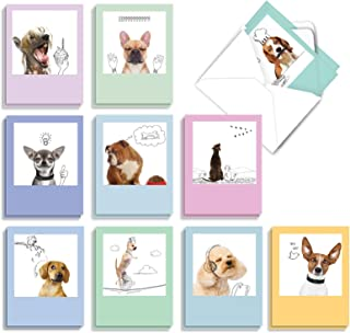 The Best Card Company - 20 Boxed Dog Cards with Envelopes (4 x 5.12 Inch) - Blank Assortment (10 Designs, 2 Each) - Dogs &...