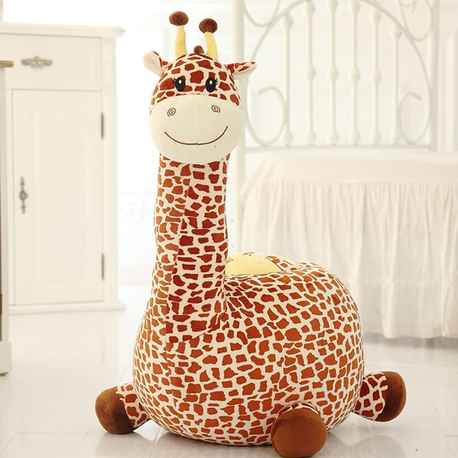 Kids Giraffe Sofa Stool,Creative Cute Lazy Seat Chair Upholstered shoes Stool-D L85xW50cm