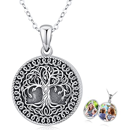 Holds Pictures Locket Necklace Tree of Life/Sunflower/Moon and Star Locket Necklace Sterling Silver That Holds Pictures Vintage Oxidized Celtic Jewelry Gift for Women