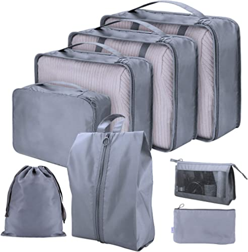 Cloudsky 6 Set/ 7 Set/ 8 Set Packing Cubes, Travel Storage Bags Multifunctional Clothing Sorting Packages, Travel Pac...