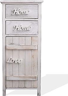Rebecca Mobili Armario Blanco Mueble baño 1 Puerta 2 cajones Madera Estilo Shabby Muebles para Dormitorio- Medidas: 8...
