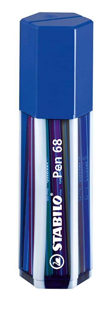 STABILO Pen 68 Fibre-tip Pen Pack of 20 Assorted Colours in a Dark Blue re-usable case