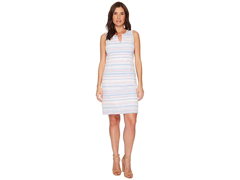 Joules Elayna Notch Neck Shift Dress (White/Blue/Pink Stripe) Women