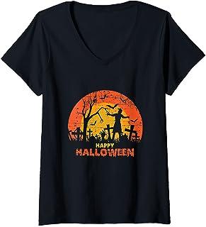 Femme Cimetière grunge effrayant Happy Halloween T-Shirt avec Col en V