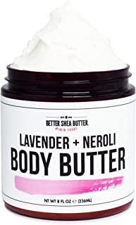 Lavender Neroli Whipped Body Butter for Dry Skin - Intense 24-Hour Hydrating Cream with Shea Butter - Scented with 100% Pure Essential Oils - Paraben Free, Non Greasy, No Synthetic Fragrances - 8 oz