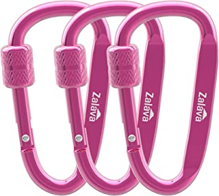 Zalava D-Clip Durable Locking Keychian Clips Carabiner Clips,D-Clip Aluminum Keychain Clip Hook, Screwgate Locking Carabiner Clip, Locking Carabiner for Outdoor, Indoor, or Dog Leash