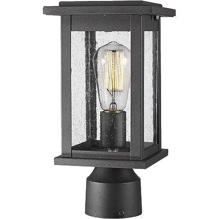 Emliviar Outdoor Post Light Fixtures 2 Pack Exterior Pillar Light In Black Finish With Seeded Glass 1803ew1 P 2pk