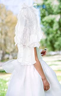 Communion Veil – Unique and Stylish for Flower Girls - Flower Lady - White Veil Headband - Beautiful Pattern for Weddings, Communions, Baptisms