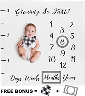 Baby Monthly Milestone Blanket for Boy Girl Unisex | Neutral Personalized Photography Background Blankets | Thick Fleece for Mom Newborn Baby Shower Gifts + Bandana Drool Bib + 2 Months Frame Markers