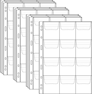 Homgaty 10 Sheet Plastic Coin Pocket Page Clear Coin Holders Stamp Coin Collector Binder Sheets Currency Collecting Album Supplies (12 Pocket Pages)