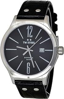 تي دبليو ستيل ساعة يد رجاليه بسوار جلد، TW1300