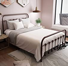URODECOR Metal Bed Frame with Headboard and Footboard Mattress Foundation The Country Style Iron Platform Bed, Antique Bronze,Full Size (Full, Antique Brown)